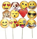 JZK® 12 x Emoji photo booth accessoires de papier party accessoires de selfie sur bâton pour enfants et adultes accessoire de fournitures de fête pour mariage Fête de fête d'anniversaire Anniversaire d'Halloween