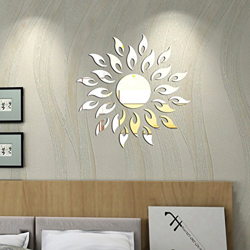 Wall1ders - SILVER Sun with extra flames, 1.5 feet size(45 cm x 45 cm), Acrylic mirror decor wall sticker
