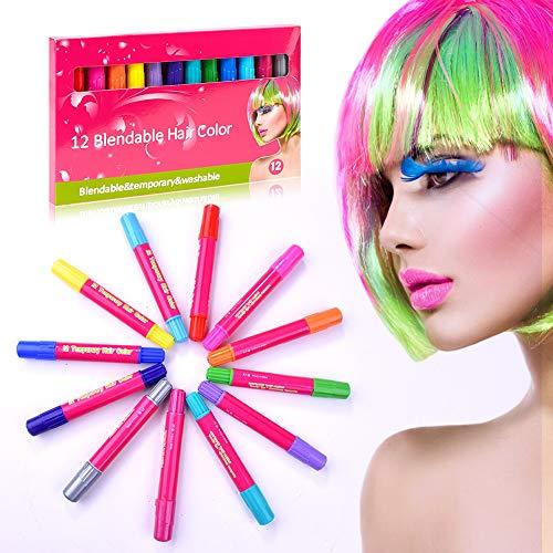 DryMartine Haarkreide Gesichtsbemalung Glitter Temporäre Haarkreide, 12 Farben Hair Chalk Set für Karneval, Halloween, Partys, temporäre Haarfarbe ungiftig, auswaschbar, Arbeiten auf allen Haararten