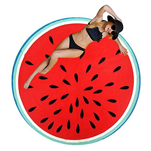 Ducomi Ibiza – Rund Strandtuch Frauen Herren Kinder – Schutzschale Ideal Strand, Picknick, Home, Pool Kostüm Bezug – Tischdecke Colorful Funny Mustern – Ø 150 cm Dragon Fruit
