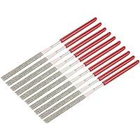 Sourcingmap – 10 limas de agujas de diamante triangulares de 4 mm x 160 mm, grano 150, a18031700ux0183