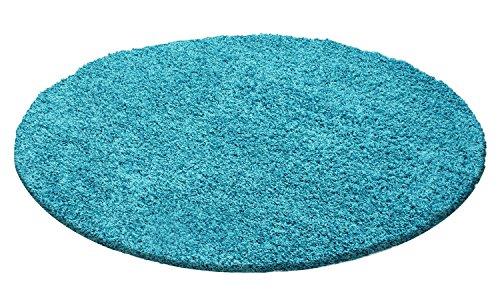 Hochflor Shaggy Rund Teppich Wohnzimmer Langflor vers. Farben & Größen Neu, Größe:120 cm Rund, Farbe:Türkis