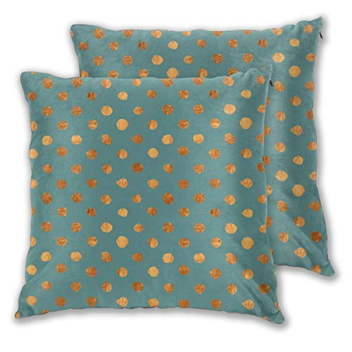 Myhou Throw Pillow Case,Swiss Dot Teal Copper Orange Square Solid Cushion Cover Set of 2 Throw Pillow Cover Home Seat Sofa Decor 18 x 18 Inch Floral Swiss Dot