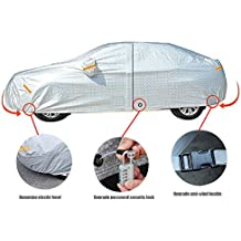 Freesoo Funda para coche FUNDA PROTECTORA CUBIERTA COCHE IMPERMEABLE con banda reflectante protector solar lluvia cubierta completa con bloqueo antirrobo para Audi, Benz, BYD, SUV universal
