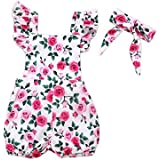 Outtop(TM) Flower Floral Printed Princess Dress 2PCs Flower Printed Romper Clothes+Bowknot Headband Outfit Sets 6M(3~6months) Pink