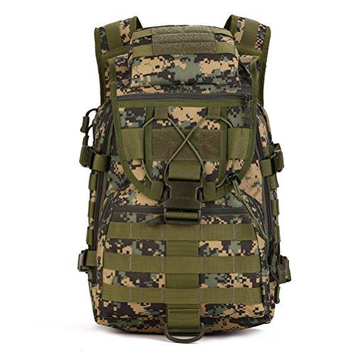Fieans 40L Militaerische Outdoor Reisetaschen Camping Rucksack Jagd-Taschen Fahrradrucksack-Coyote Brown Jungle Camouflage