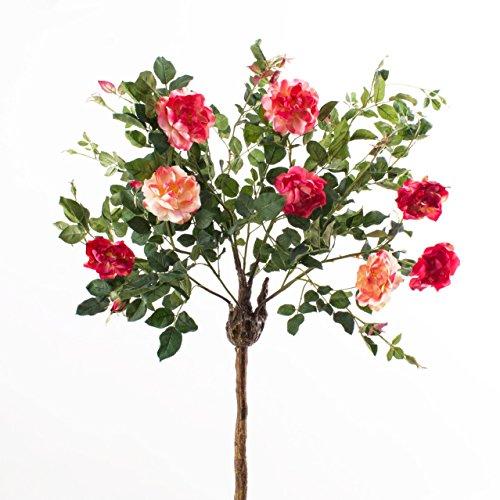 Deko Rosenkugelbaum mit 8 Blüten und 4 Knospen, hellrosa-dunkelrosa, 140 cm – Künstliche Rosen / Künstlicher Baum – artplants
