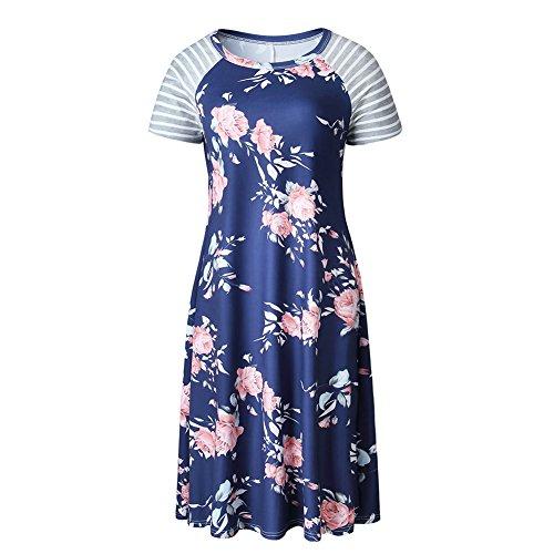 3642e42b523 iShine Casual Shirtkleid Damen Kurzarm Blusenkleid T-Shirt Kleid Strandkleid  mit Blumen Sommerkleid Knielang Dunkeblau ...