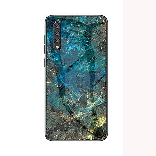 Samsung Galaxy A70 Cover Silicone,Vetro temperato Marmo Ultra Sottile Gomma Gel Trasparente scocca Anti-Scivolo Soft Shell per Samsung Galaxy A70 (Blu)