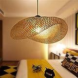 Suspension design lumière pendante en bambou tissé à la main lustre personnalisé abat-jour en rotin pour salle à manger salon chambre lampe éclairage intérieur éclairage,Ø80cm...