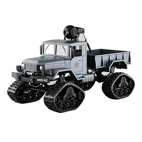 Bescita Militär RC Truck Armee mit WIFI-Kamera 1:16 4WD Verfolgt Räder Crawler Kettenrad Off-Road Auto RTR APP Steuerung Spielzeug NEUZ (Armeegrün)