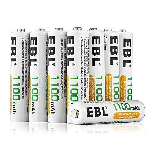 EBL AAA Batterie Ricaricabili Ad Alta Capacità,Pile Ricaricabili da 1100mAh Ni-MH con Astuccio Ricarica da 1200 volte,Confezione da 8 pezz