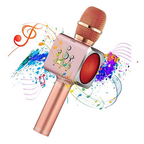 Bluetooth Karaoke Mikrofon Drahtloses,Tragbares Handmikrofon Aufnahme,Lautsprecher für zu Hause singen,KTV,Partygeburtstag,Aufnahme,Party Karaoke Mikrofon Kompatibel mit Android & iOS (Rosa)