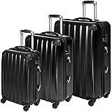 TecTake policarbonato trolley valigia valigie set rigido borsa nero