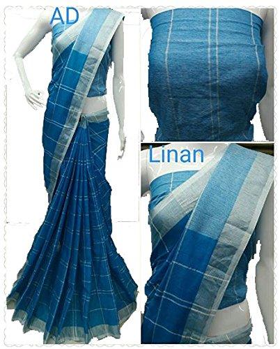 Hooriyas designer Pure Linen Cotton Mix Saree With Silver Zari Weaving Pallu...