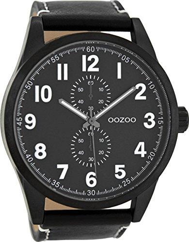 Oozoo Herrenuhr mit Lederband 50 MM Schwarz/Schwarz C8224