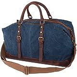 Leaper Weekender Umhängetasche als Handgepäck und Reisetasche, Canvas Vintage-Look für Reisen Ausflüge und Kurzurlaube (XL,Dunkelblau)
