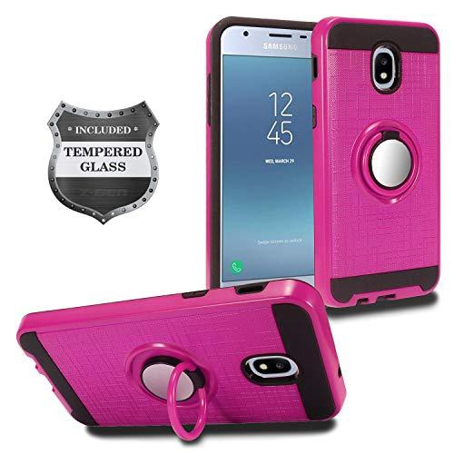 Für Samsung Galaxy J3(2018), J3Erreichen, J3Star, Express Prime 3, Amp Prime 3sm-j337-Hybrid Hard Case w/Ring Ständer + gehärtetem Glas Displayschutzfolie, RS2 Black/Hot Pink Hot Pink Hard Case