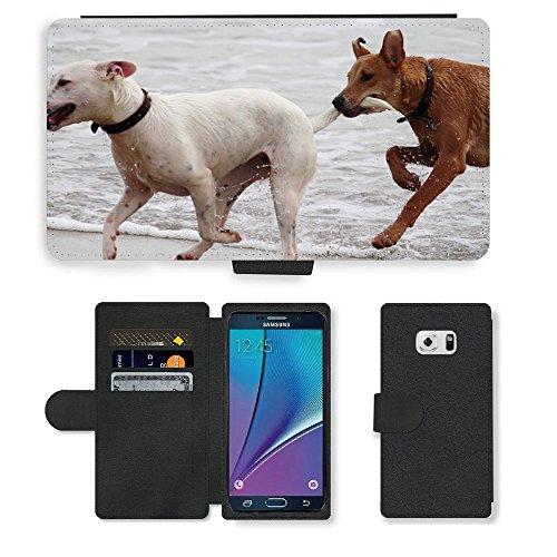 Just Phone Cases PU LEDER LEATHER FLIP CASE COVER HÜLLE ETUI TASCHE SCHALE // M00421764 Hunde Stöckchen zu spielen Beißen Romp // Samsung Galaxy Note 5 V (Not fit S5)