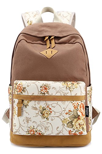 BeautyWill Fashion-Rucksack für Damen, Mädchen, Schülern, Schülerinnen - Lässiger Canvas-Rucksack, Vintage-Backpack, Daypack,Tagesrucksack, Schulranzen Khaki