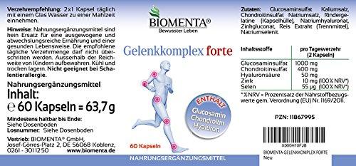51Ew6Yz68ZL - BIOMENTA ARTICOLAZIONE COMPLESSA FORTE | con GLUCOSAMINA + CONDROITINA + ACIDO IALURONICO + ZINCO + SELENIO | per i dolori articolari | 60 capsule articolari