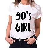 90´s Girl Trendiges Damen T-Shirt Girlie Kurzarm Baumwolle mit Druck, Farbe:Weiß;Größe:S