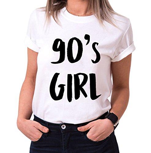90´s Girl Trendiges Damen T-Shirt Girlie Kurzarm Baumwolle mit Druck, Farbe:Weiß;Größe:S (Givenchy-t-shirt Frauen)