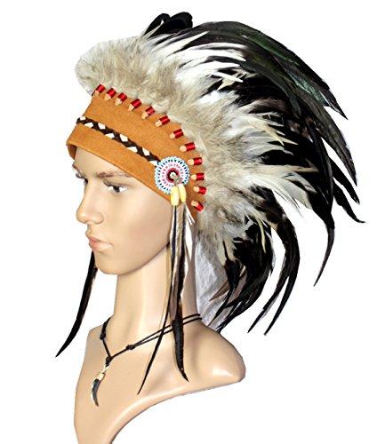 Indianer Stirnband Federhaube Kopfschmuck EDEL Federschmuck -