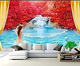 Papel Pintado Art Foto Mural Chica Cascada Papel Tapiz Fotográfico Personalizado 3D Murales Grandes Sofá Dormitorio Moderno Pintura Mural Decoración Para El Hogar - 430x300CM(LxH)-XXXL