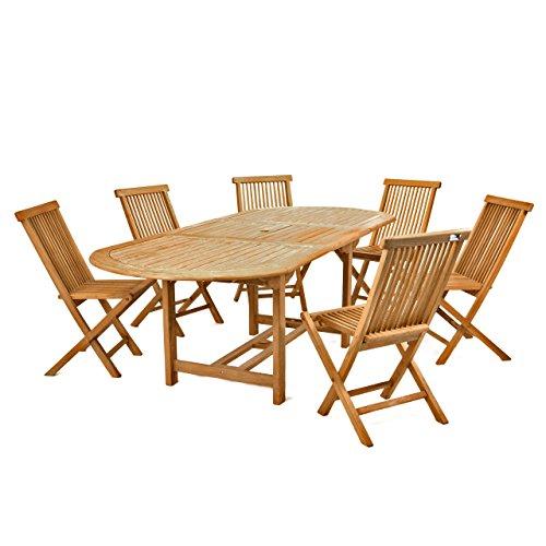 Divero Gartenmöbel-Set Terrassenmöbel-Garnitur Sitzgruppe - großer Esstisch 170/230 cm ausziehbar + 6x Holzstuhl klappbar - Teak massiv behandelt