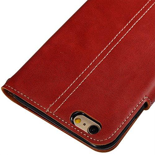 Retro Art verrückter Pferd Beschaffenheits-Kasten PU-lederner Schlag-Standplatz-Fall mit Mappen-Beutel-Funktion u. Magnetischer Verschluss u. Lanyard für iPhone 6 Plus u. 6s Plus ( Color : Khaki ) Red