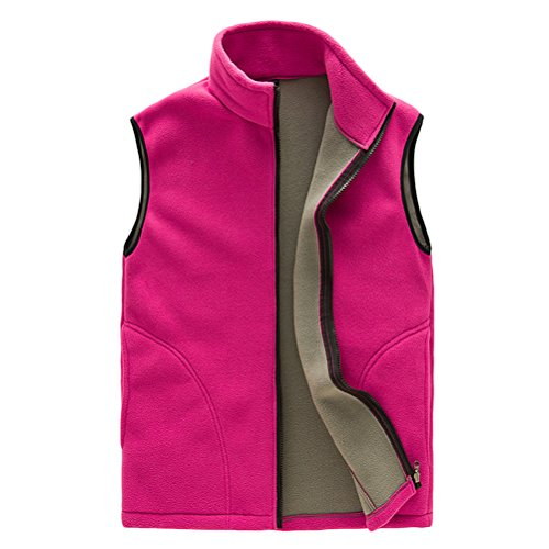Zhhlaixing Unisex Soft Shell Fleece Body Warmer Vest Gilet Mens Womens Zipper traspirante All'aperto Sports Outwear Rose red-Womens