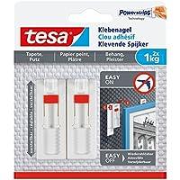 Tesa pegar agel para papel pintado y yeso, ajustable, potencia de sujeción, 2unidades), 1 kg / 3er Pack = 6 Nägel