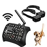 KKY Double Dog Training Wireless Pet Fence System Pet Rechargeable Collar Receiver