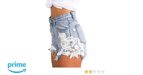 de9a05dc5bc3e1 EMIN Damen Shorts Jeans Spitze Häkeln Tassel Damen Jeans Shorts Hohe Taille  Denim Shorts Lochjeans Jeans Hot Pants mit Taschen Damen Hotpants Jeans,  Blau, ...