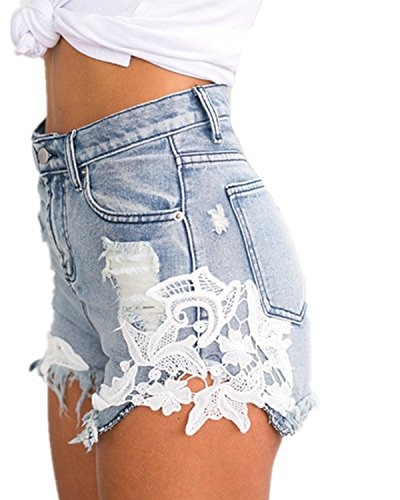EMIN Damen Shorts Jeans Spitze Häkeln Tassel Damen Jeans Shorts Hohe Taille Denim Shorts Lochjeans Jeans Hot Pants mit Taschen Damen Hotpants Jeans, Blau, Asien 2XL (empfehlen EU42) (Hohe Taille Short Hot)