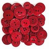 Calica® Knöpfe Mixsets ★ ø 10-21 mm ★ 18 Stück (Rot Mix)