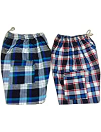 "Handloom Cotton Shorts, Multi Colour, Free Size L-19"" W-34"" With Elastic Waist, Very Comfortable, Combo Pack Of..."