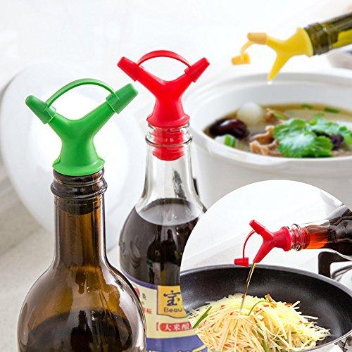 EQLEF 4 Pièces Silicone Vis Multifonctions Bouchon de Bouteille avec Deux Tailles Diversion Ports pour Le vin/Bière/Sauce soja/vinaigre, etc.
