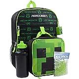 Minecraft Creeper 5 pezzi Zaino Set Lunch Box Bottiglia d'acqua Ice Pack Squishy