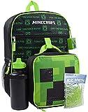 Minecraft Creeper Juego de mochilas de 5 piezas Caja de almuerzo Botella de agua Bolsa de hielo Squishy
