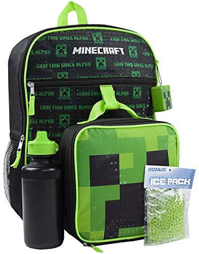 Minecraft Creeper Juego de mochilas de 5 piezas Caja de almuerzo Botel