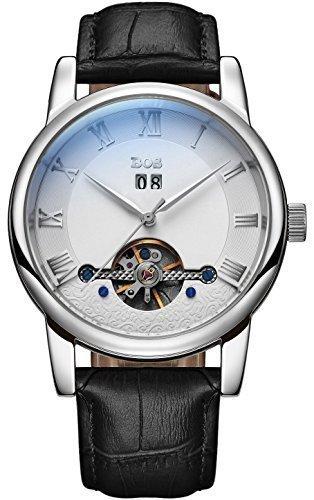 Angela Bos Men 's Fashion Automatic mecánico impermeable blanco Dial plata caso negro banda cintura relojes