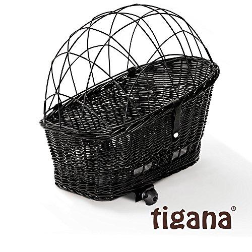 Tigana - Hundefahrradkorb für Gepäckträger aus Weide 60 x 39 cm mit Metallgitter + Kissen Tierkorb Hinterradkorb Hundekorb für Fahrrad - SCHWARZ