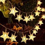 HOMVAN Catene Luminose 40 Stelle 5M Batteria Alimentata LED Luci Illuminazione Decorativa Ideale per Albero di Natale, Halloween, Matrimonio, Decorazione della stanza, Party, Giardino, Warm White