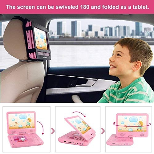 FUNAVO 10 5  Portable DVD Player with Headphone  Carring Case  Swivel Screen  5 Hours Rechargeable Battery  SD Card Slot and USB Port  Pink