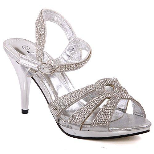 Unze Cristalli Womens 'Luice' sandali da sposa accentati FORMATO BRITANNICO 3-8 Argento