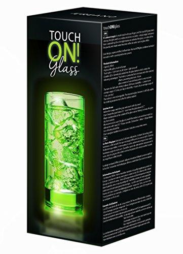 touchON!glass Creano Ausgefallenes Trinkglas / Longdrinkglas touchON!glass, Leuchtglas mit LED-Lichteffekt   300ml, grün