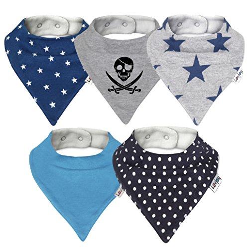 Lovjoy Baberos del bebé - Paquete de 5 Diseños para niño (Sólo azul)