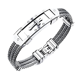 Vittore Angelo Collection Men's Stainless Steel Cross Bracelet Bangle (Silver)